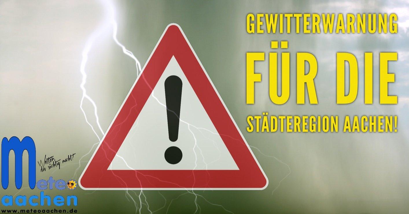 Gewitterwarnung von 18:00 Uhr bis 21:00 Uhr